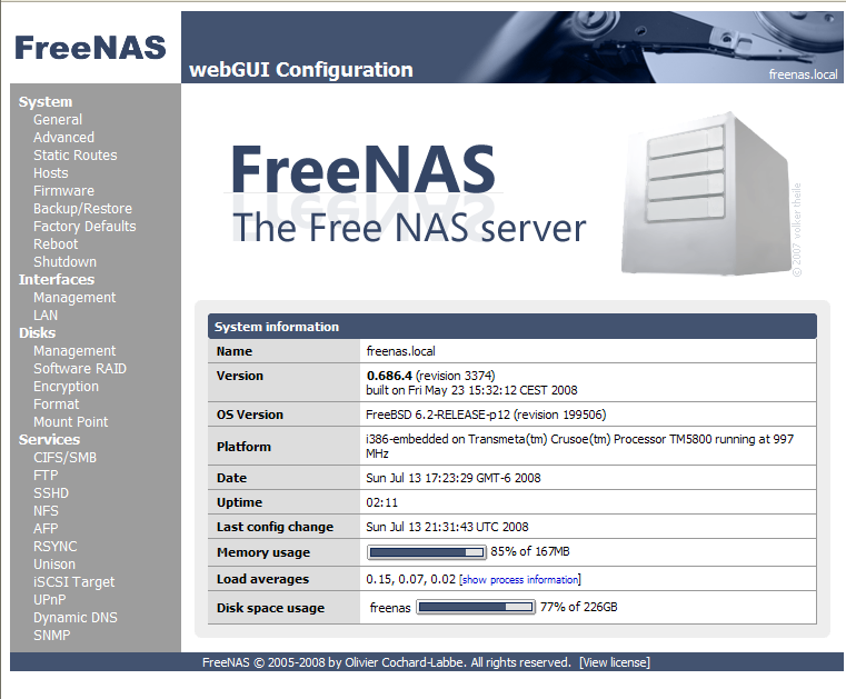 FreeNAS basic status display