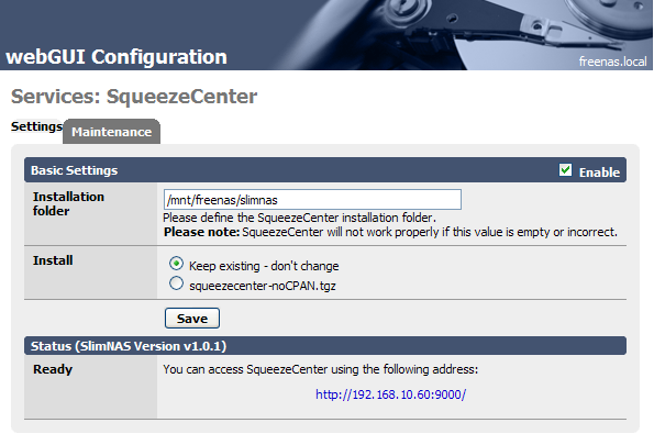 SqueezeCenter installed and running on FreeNAS