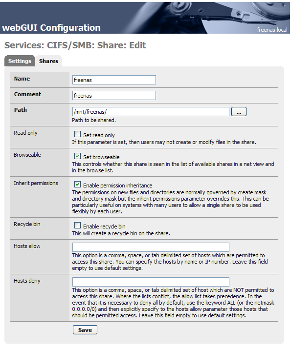 Creating the CIFS/SMB share to hold the music