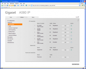 Gigaset A580 Web Interface in k-meleon