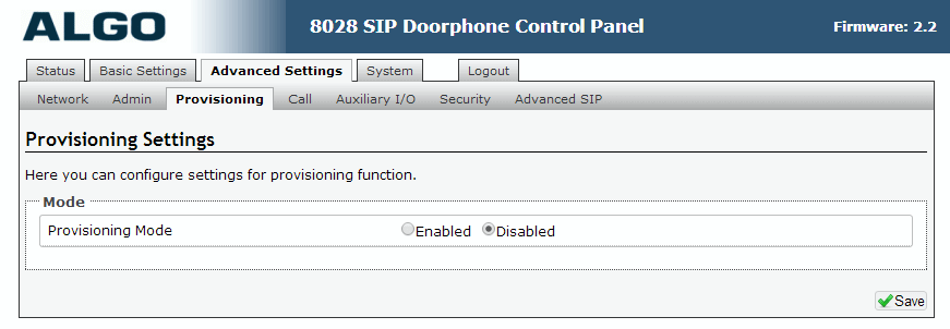 Algo 8028 SIP Door Phone - Web UI - Advanced Provisioning