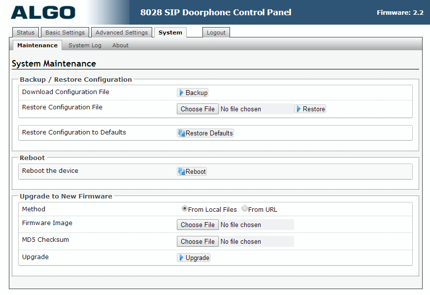 Algo 8028 SIP Door Phone - Web UI - System Maintenance