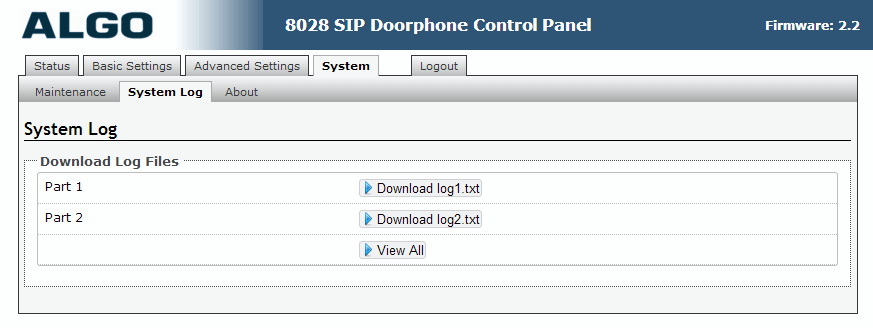 Algo 8028 SIP Door Phone - Web UI - System Logs