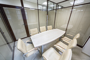 small meeting room with glass walls