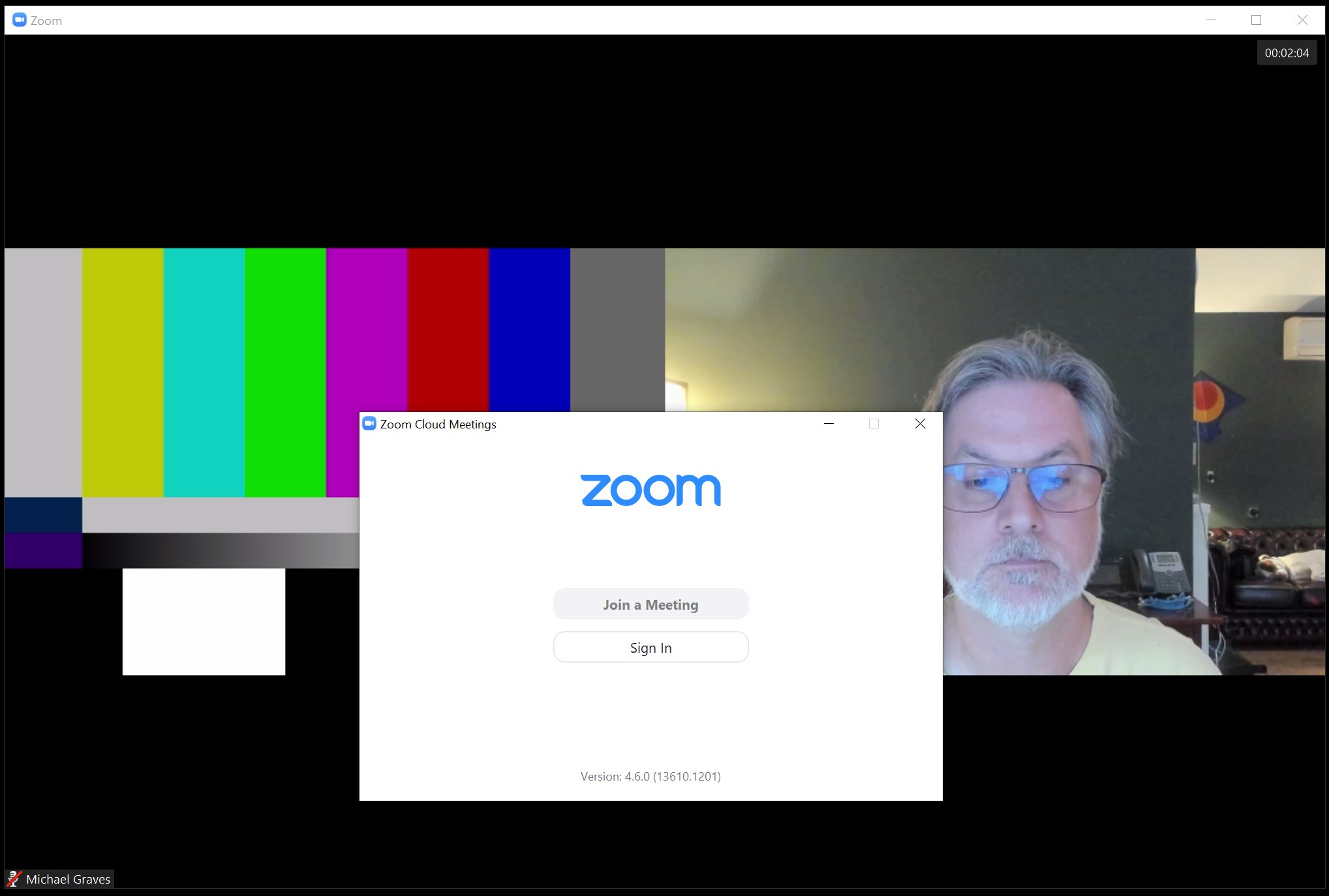 Zoom 4.6 client using vMix 23 Beta, 2-box, color bars & Brio webcam